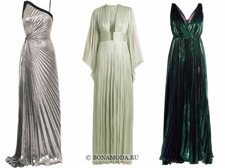 Модные вечерние платья 2018 - блестящие плиссированные серебристые и зеленые