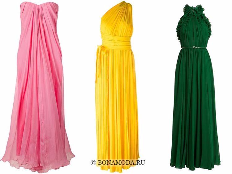 Модные вечерние платья 2018 - розовое, желтое и зеленое плиссированное