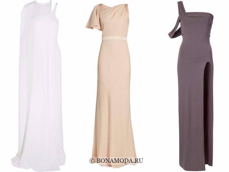 Модные вечерние платья 2018 - белое и бежевые асимметричные