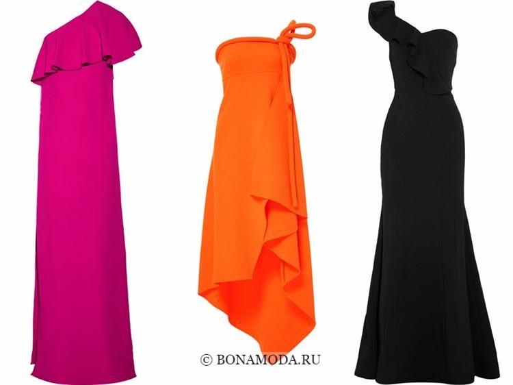 Модные вечерние платья 2018 - малиновое, оранжевое и черное на одно плечо