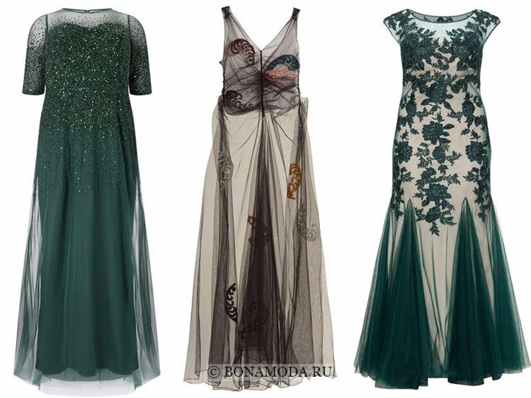 Модные вечерние платья 2018 - зеленые и бежево-черные тюлевые