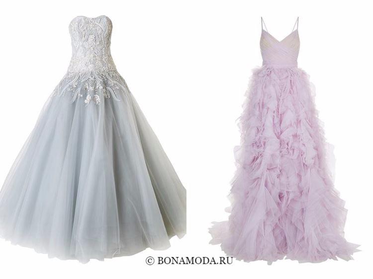 Модные вечерние платья 2018 - жемчужно-серое и сиреневое пышные тюлевые