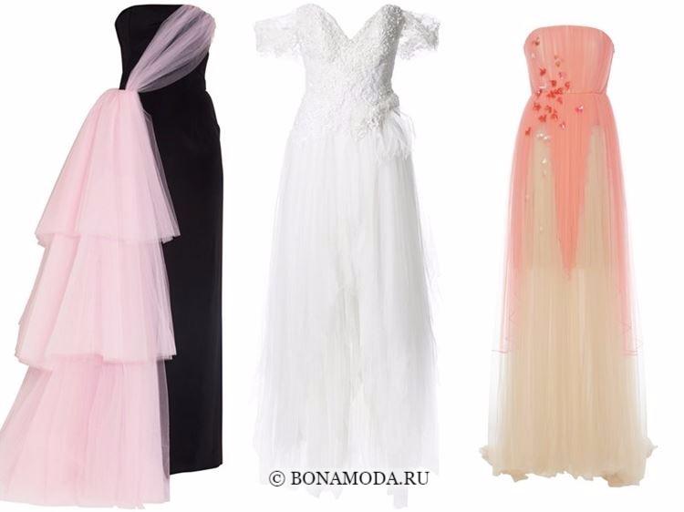 Модные вечерние платья 2018 - черно-розовое, белое и оранжевое с тюлевой юбкой
