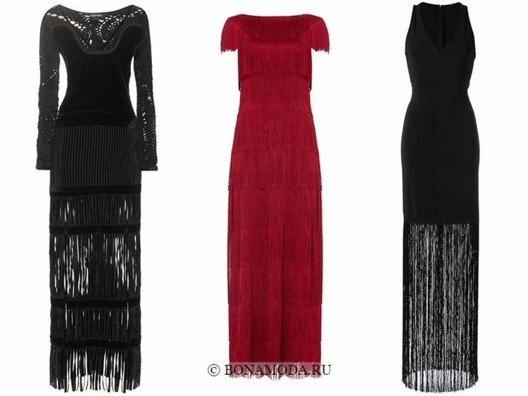 Модные вечерние платья 2018 - черные и красные с длинной бахромой