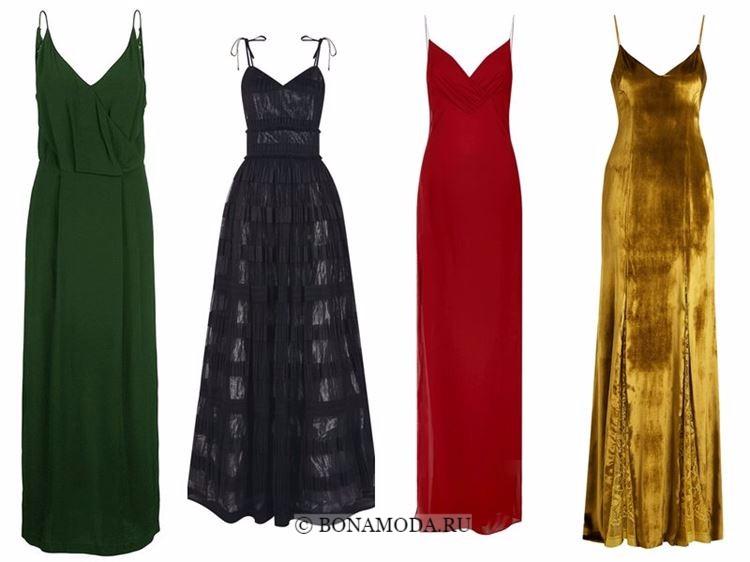 Модные вечерние платья 2018 - зеленый, черный, красный и золотой сарафан на тонких бретелях
