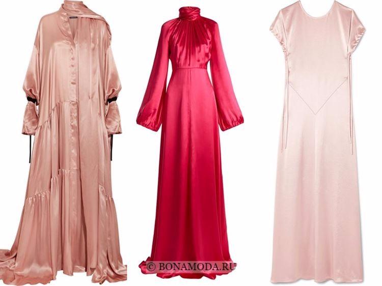 Модные вечерние платья 2018 - шелковые блестящие