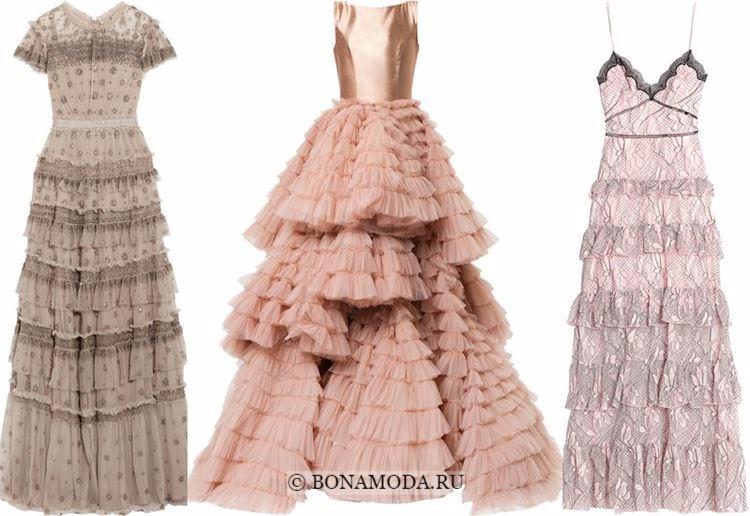 Модные вечерние платья 2018 - бежевые и розовые многоярусные с воланами