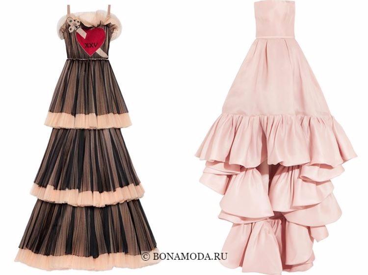 Модные вечерние платья 2018 - бежево-коричневое и розовое многоярусное с плиссировкой и воланами