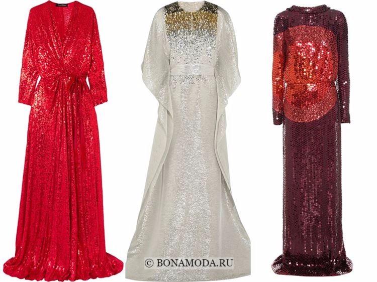 Модные вечерние платья 2018 - красные и белые с пайетками и длинными рукавами