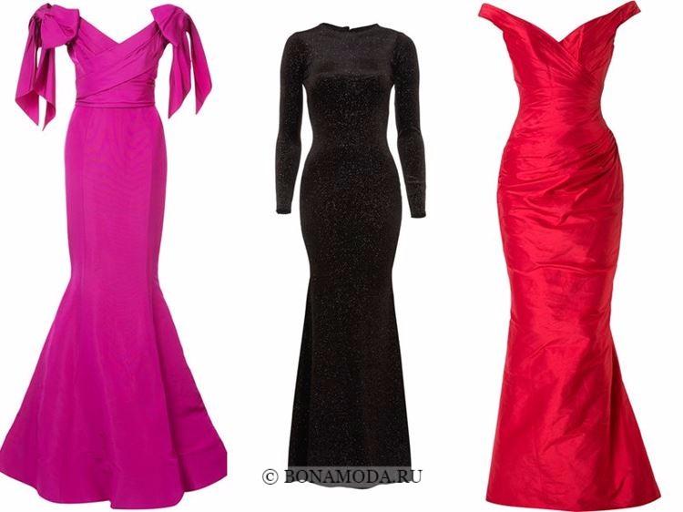 Модные вечерние платья 2018 - малиновое, черное и красное русалка
