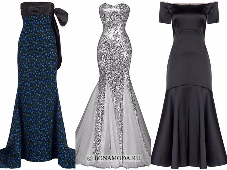 Модные вечерние платья 2018 - синее, серебристое и черное русалка годе