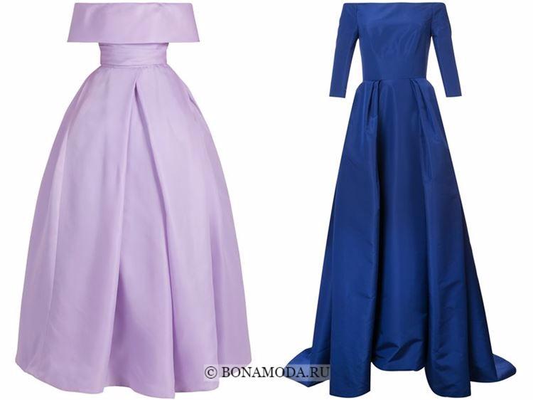 Модные вечерние платья 2018 - лиловое и синее приталенное с открытыми плечами