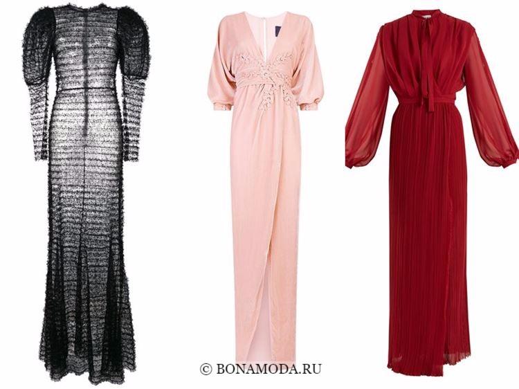 Модные вечерние платья 2018 - длинные объемные рукава