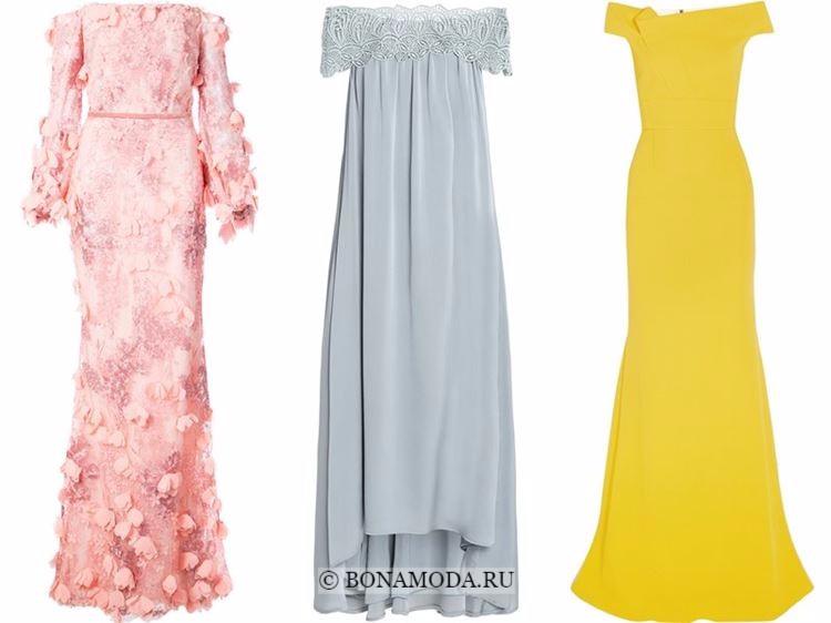 Модные вечерние платья 2018 - розовое, серое и желтое с открытыми плечами и декольте