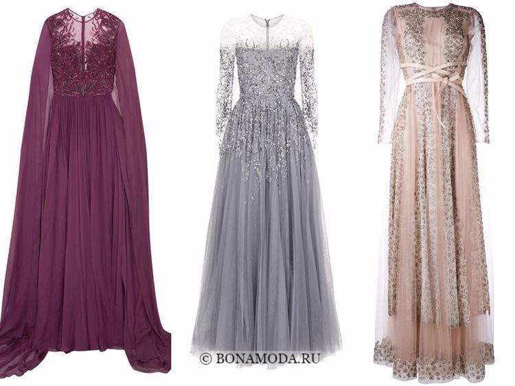 Модные вечерние платья 2018 - бордовое, серое и бежевое с вышивкой кристаллами