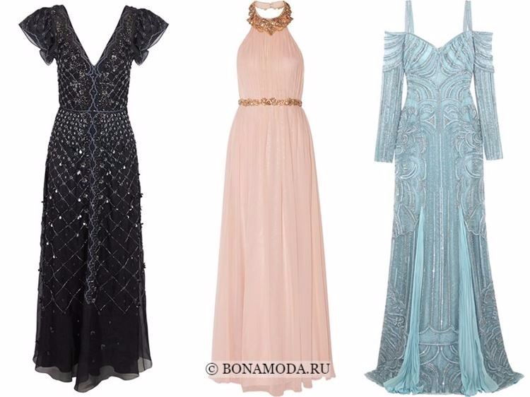 Модные вечерние платья 2018 - черное, персиковое и голубое с кристаллами
