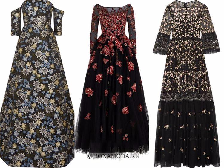 Модные вечерние платья 2018 - черные приталенные с цветочным узором
