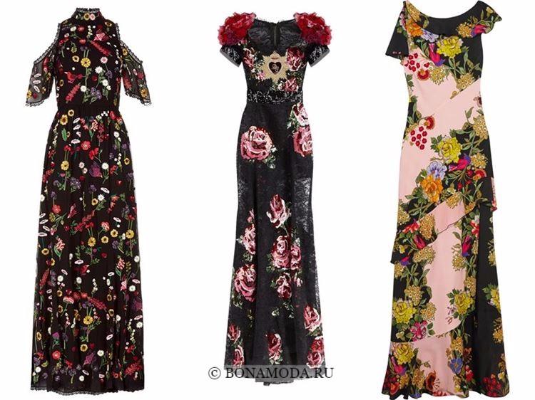 Модные вечерние платья 2018 - темные с цветочным принтом