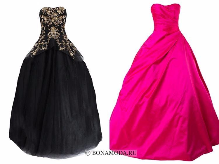Модные вечерние платья 2018 - черное и ярко-розовое бальное платье бюстье с пышной юбкой
