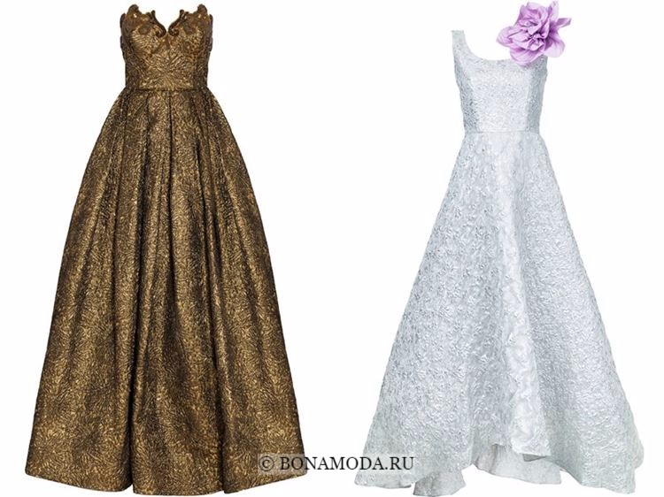 Модные вечерние платья 2018 - золотые и серебристые приталенные платья принцесса