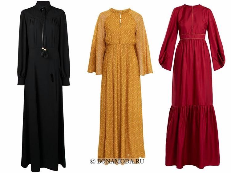 Модные вечерние платья 2018 - длинный рукав - черное, горчичное и красное