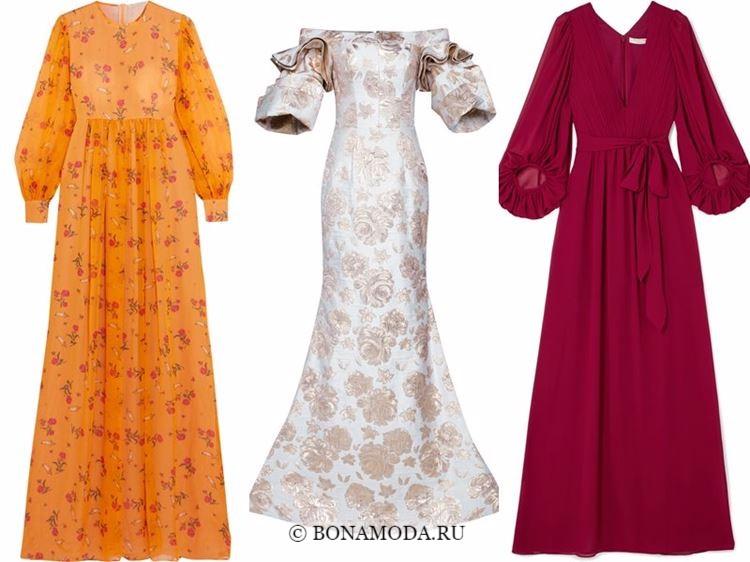 Модные вечерние платья 2018 - пышные объемные рукава