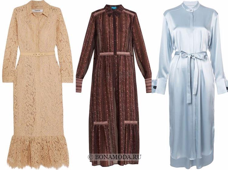 Модные вечерние платья 2018 - платье-рубашка из кружева и атласа