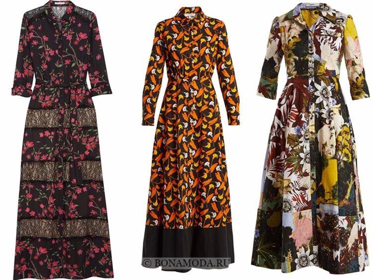 Модные вечерние платья 2018 - приталенные платья-рубашка с цветочным принтом