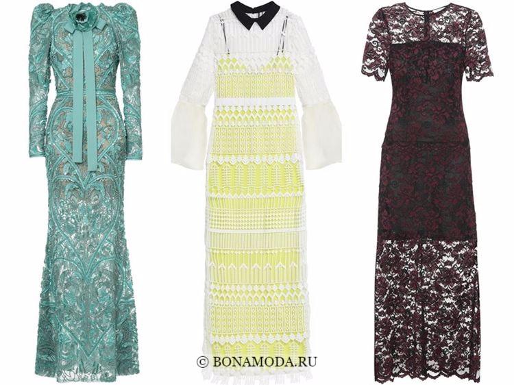 Модные вечерние платья 2018 - зеленое, белое и бордово-коричневое из кружева
