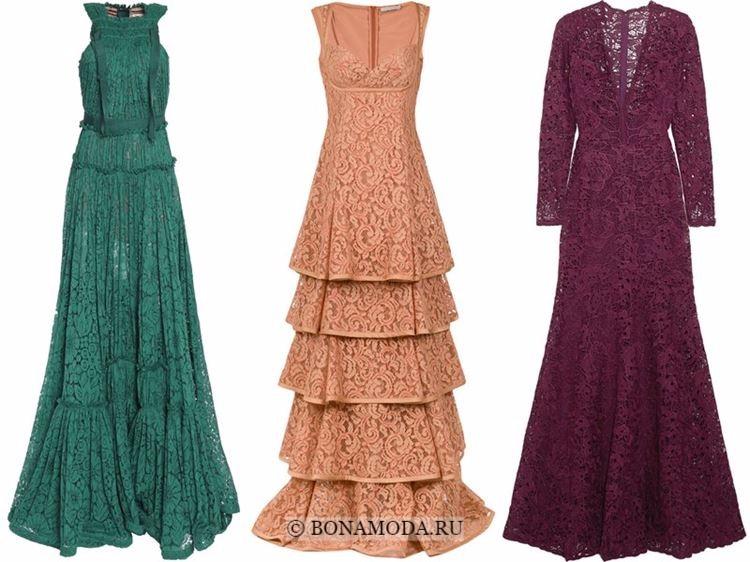 Модные вечерние платья 2018 - кружевные - зеленое, бежевое и винно-сливовое