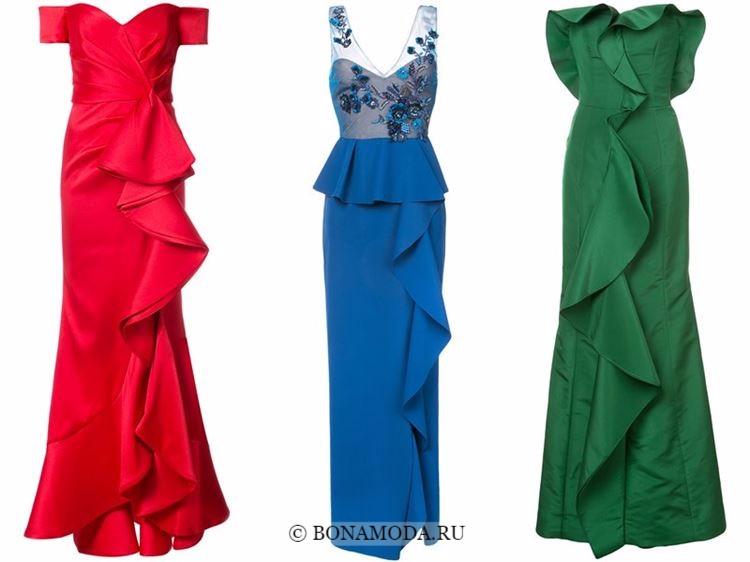 Модные вечерние платья 2018 - красное, синее и зеленое с воланами