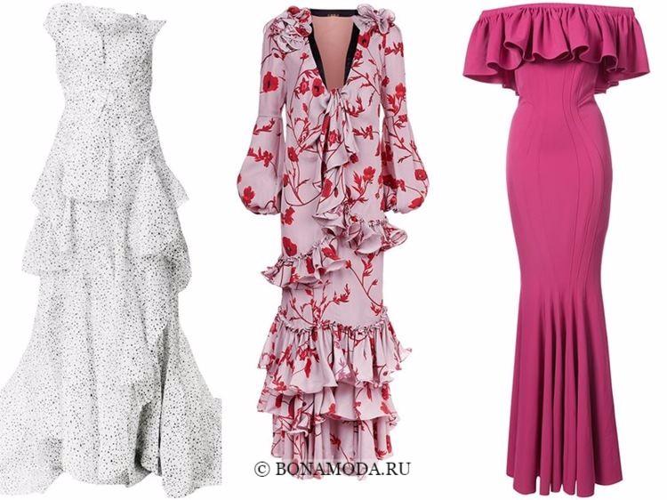 Модные вечерние платья 2018 - белые и розовые с оборками
