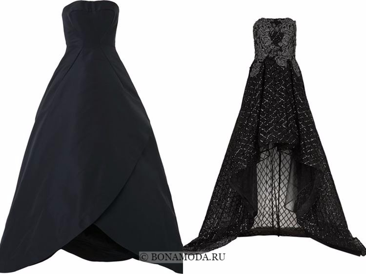 Модные вечерние платья 2018 - черные приталенные платья бюстье хай лоу