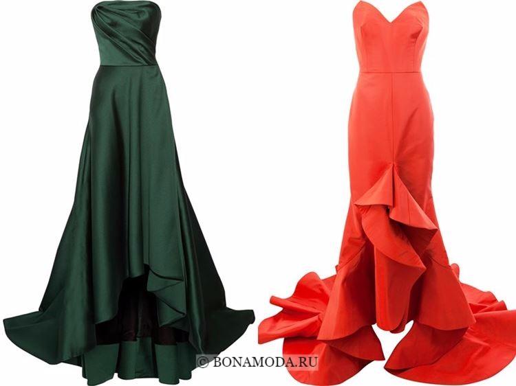 Модные вечерние платья 2018 - зеленое и оранжевое бюетьс хайл лоу маллет