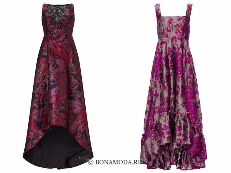 Модные вечерние платья 2018 - бордовое и малиновое с цветочным принтом маллет