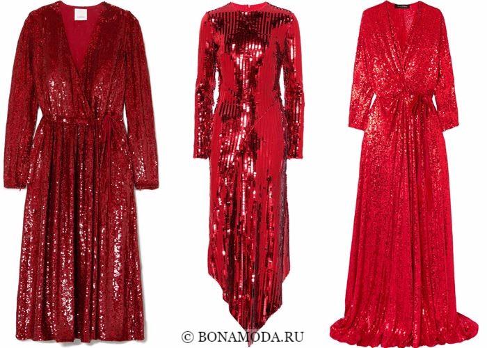 Блестящие платья со сверкающими пайетками 2018 - красные, миди, с запахом