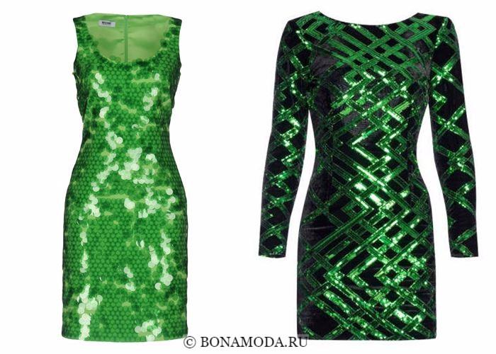 Блестящие платья со сверкающими пайетками 2018 - яркие зелёные коктейльные