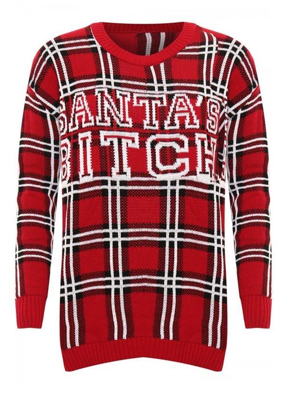 Зимние новогодние свитера с принтами 2018 - красный клетчатый с надписью