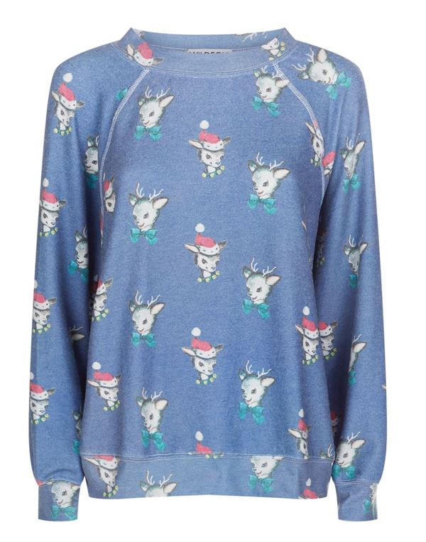 Зимние новогодние свитера с принтами 2018 - голубой с рисунками оленями