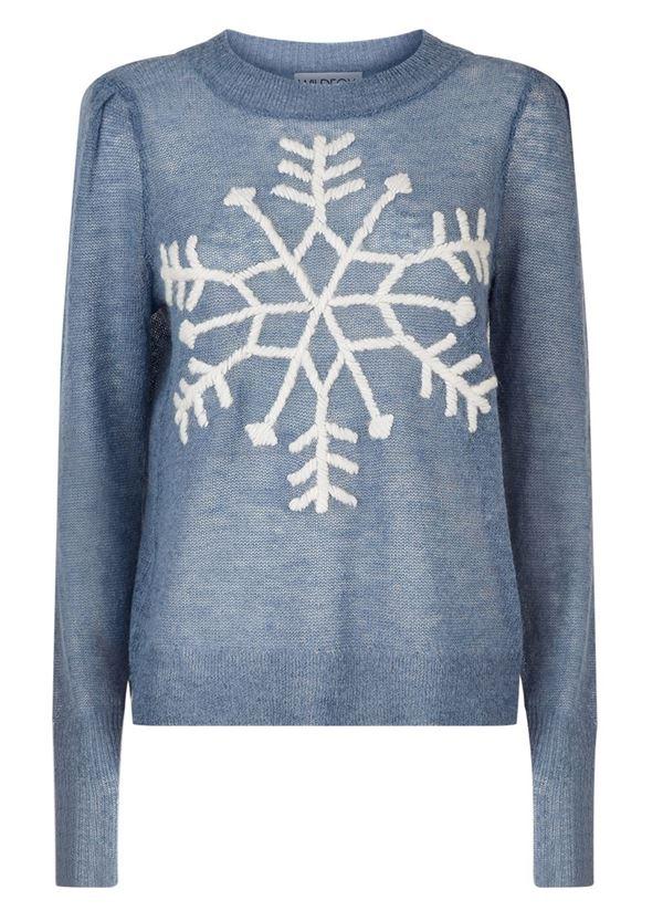 Зимние новогодние свитера с принтами 2018 - серо-голубой со снежинкой