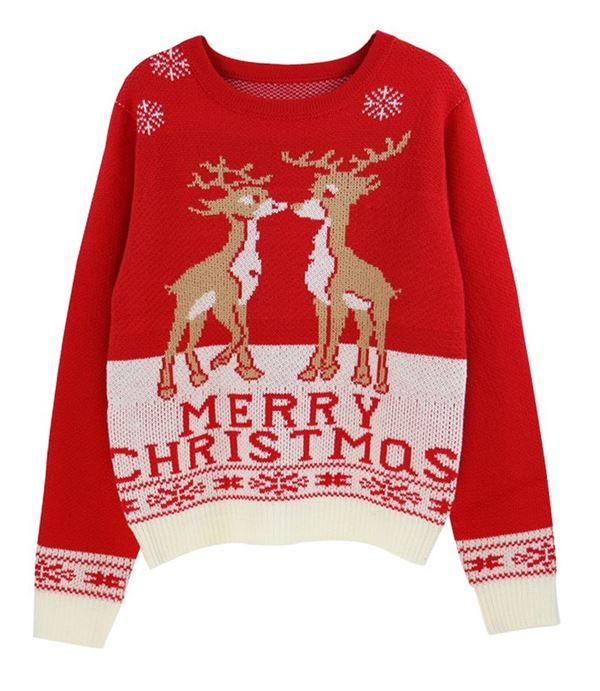 Зимние новогодние свитера с принтами 2018 - красный рождественский с оленями
