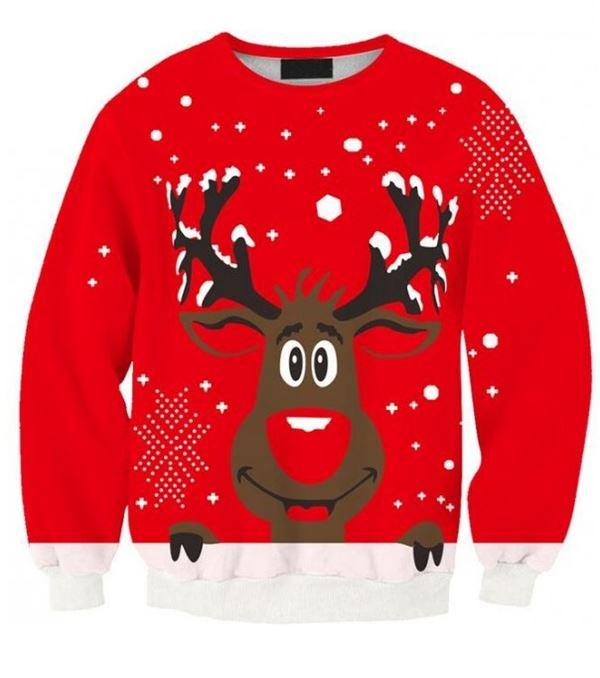 Зимние новогодние свитера с принтами 2018 - красный с оленем