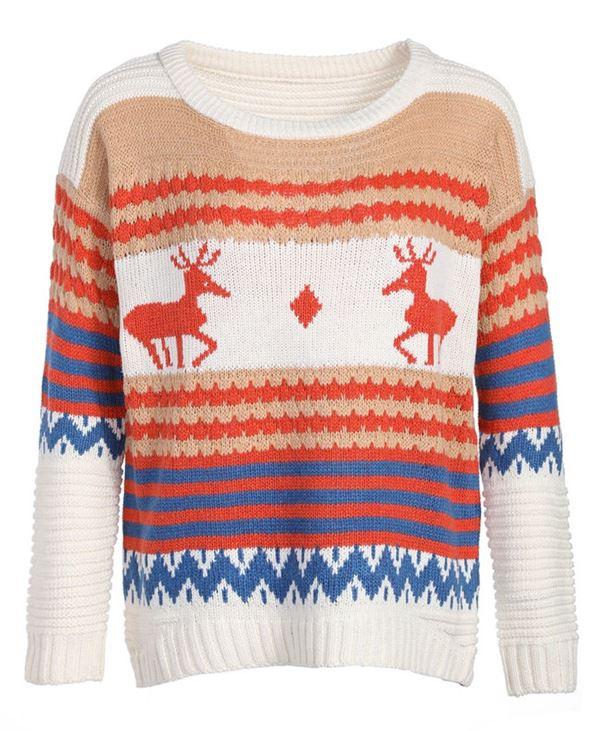 Зимние новогодние свитера с принтами 2018 - бело-бежевый с сине-оранжевыми полосками и оленями