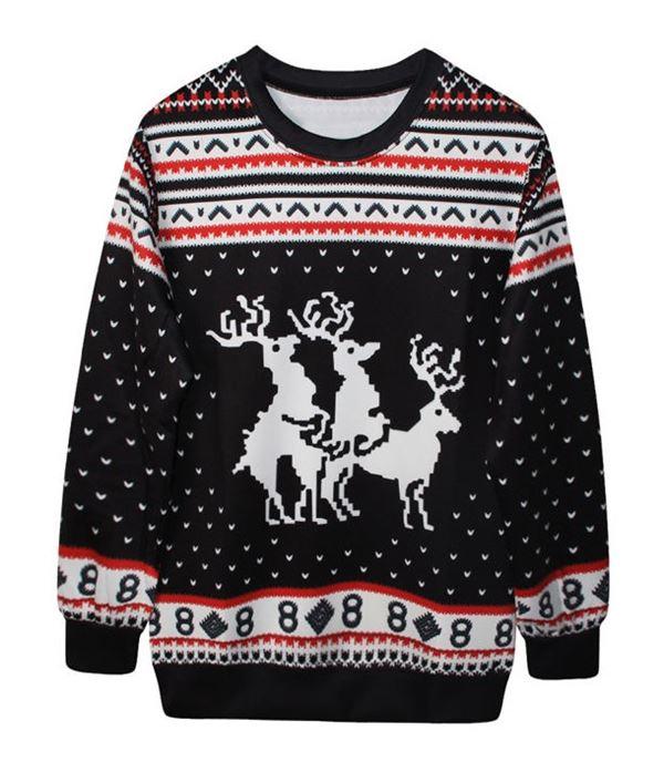 Зимние новогодние свитера с принтами 2018 - черный с оленями и орнаментом