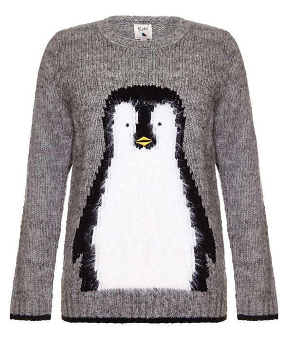 Зимние новогодние свитера с принтами 2018 - серый трикотажный с пингвином