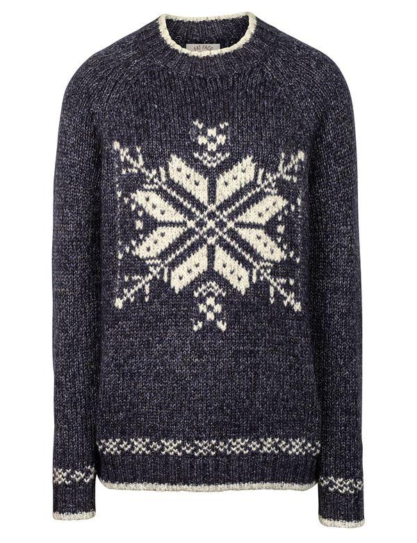 Зимние новогодние свитера с принтами 2018 - серый со снежинкой