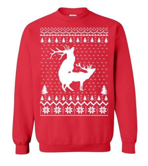 Зимние новогодние свитера с принтами 2018 - красный свитшот с оленями