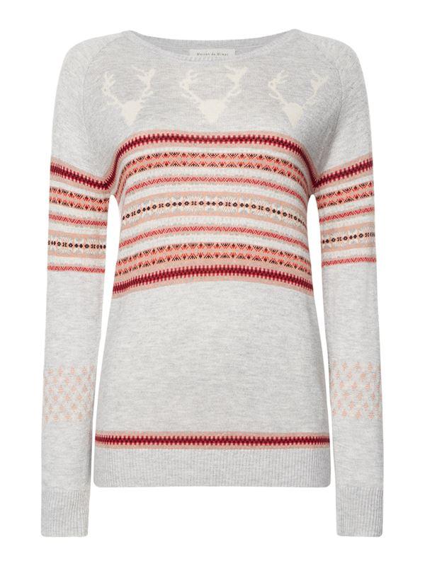 Зимние новогодние свитера с принтами 2018 - бежевый с полосками и оленями