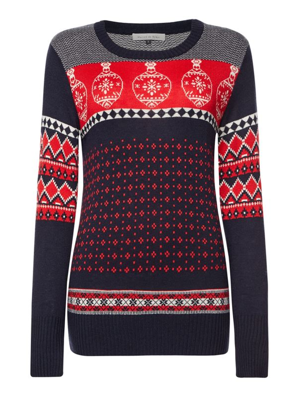 Зимние новогодние свитера с принтами 2018 - сине-красный с новогодними шарами
