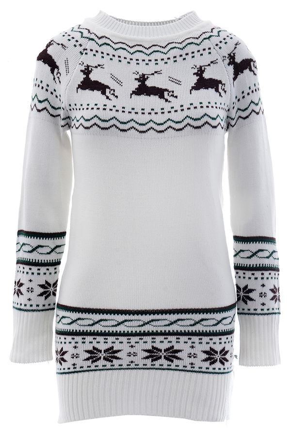 Зимние новогодние свитера с принтами 2018 - длинный белый с черными орнаментом с оленями